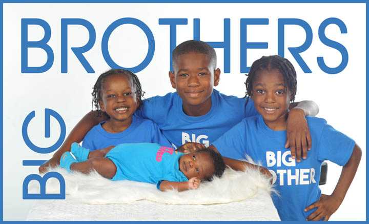 Afro American boys with baby brother in studio contemporary hi key portrait