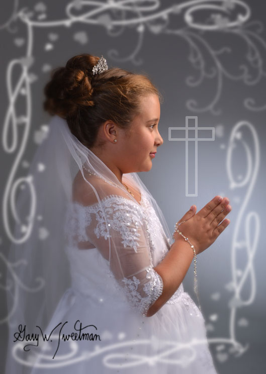 memorable first communion in studio portrait
