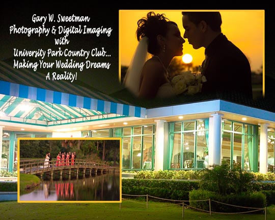 University Part Country club reception multi image composite wedding photo