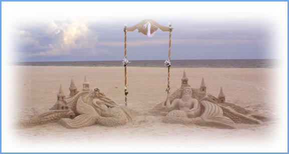 Sand sculpture Neptune sea goddess gulf of mexico