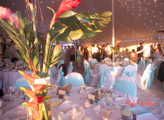Hilton Longboat Key, Florida Wedding reception in tent on beach