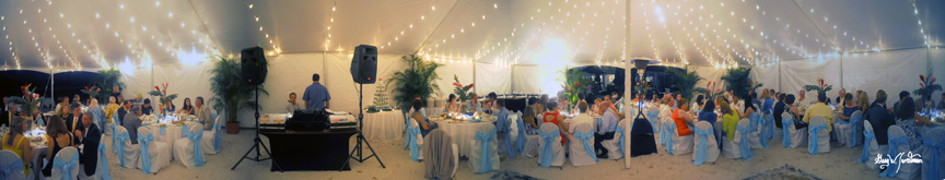 Panorama photo, Hilton Longboat Key, Florida Wedding reception in tent on beach
