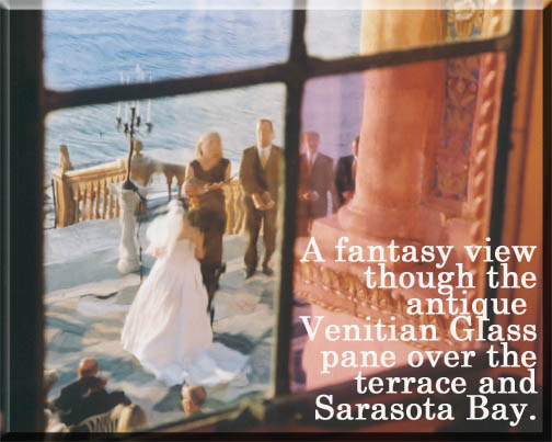 Fantasy Wedding through the window glass