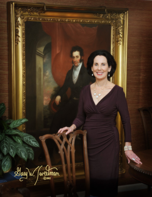 woman with Alexander Graham Bell painting