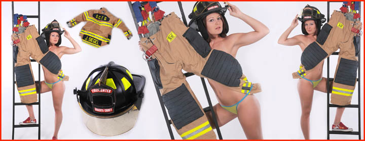 sexy portraits for my boyfriend Girl in fireman's suit