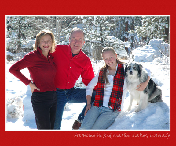 family in snow in Red Feather Lakes, CO, photographer going on location
