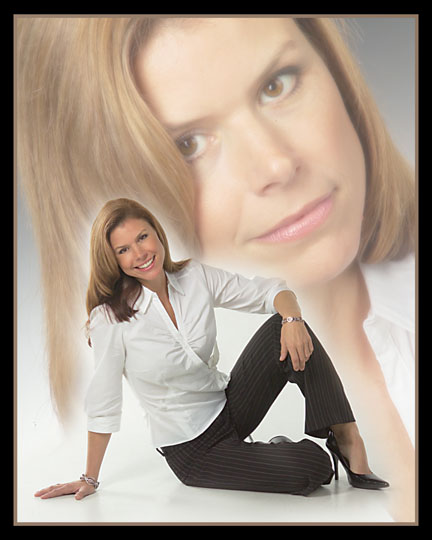 contemporary woman, multi image on white background