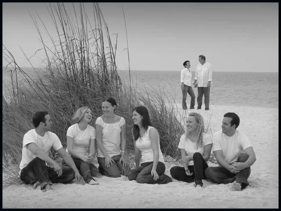 Mulit generation black and white beach portrait