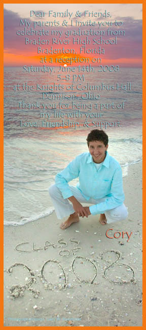 custom graduation announcement anna maria beach senior portrait