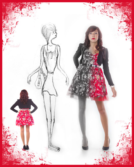 fashion designing teen mixes her portrait with her designs, project runway, teen fashion designer