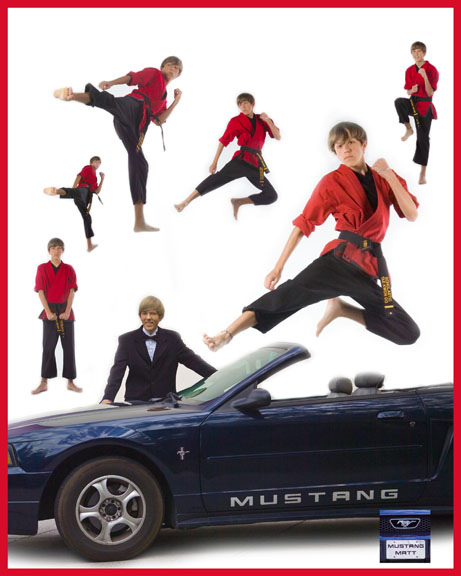 martial arts student photo collage with multiple poses for senior portrait