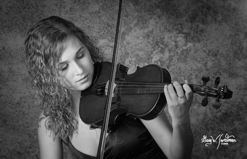 senior portrait with my violin, black and white senior picture in photo studio