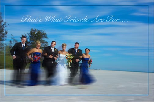 Wedding friends running on Florida Beach photojournalism