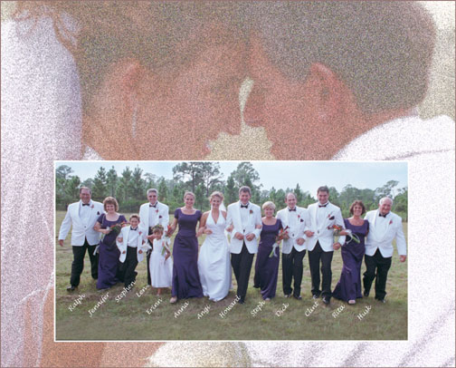 Digital Wedding Composite Images with friends running