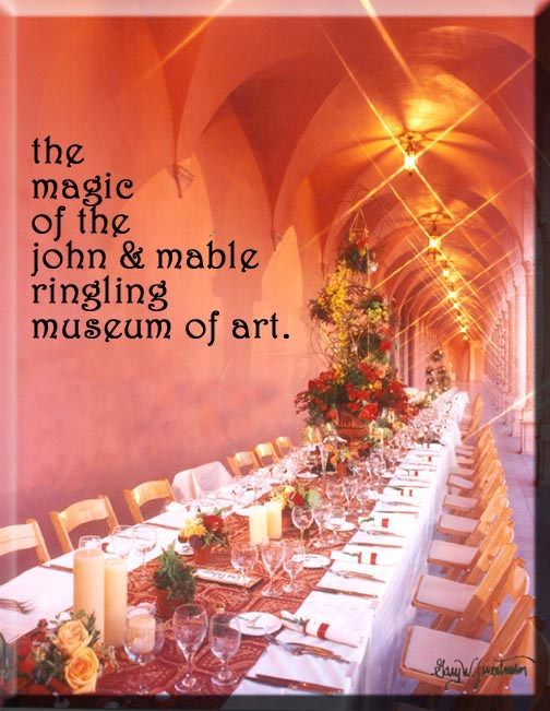Tables ready for the wedding feast in the courtyard at the Ringling Museum of Art