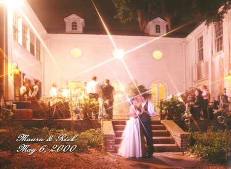 Romantic wedding photography at the Selby Gardens Payne Mansion nighttime